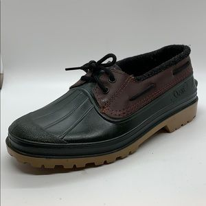 Orvis green and brown duck style rain shoes